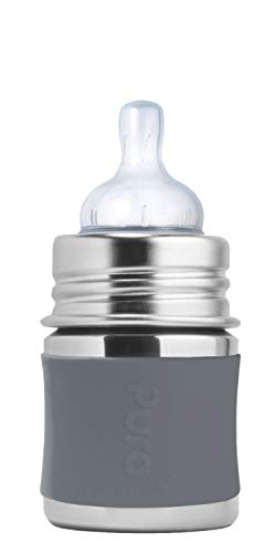 Pura Kiki 5oz / 150ml Stainless Steel Anti-Colic Infant Bottle with Silicone Natural Vent Nipple & Sleeve, Slate (Plastic Free, NonToxic Certified, BPA Free)