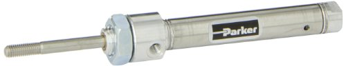 Parker .44RSR01.0 Stainless Steel Air Cylinder, Round Body, Single Acting, Spring Extend, Nose Mount, Non-cushioned, 7/16 inches Bore, 1 inches Stroke, 3/16 inches Rod OD, #10 UNF (Stainless Steel Body Air Cylinder)