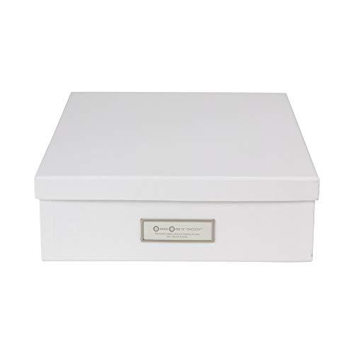 Bigso Oskar Fiberboard Label Frame Document Letter Box, 3.3 x 10.2 x 13.8 in, White