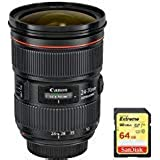 Canon (5175B002) EF 24-70mm f/2.8L II USM Lens with 64GB Extreme SD Memory UHS-I Card w/ 90/60MB/s Read/Write