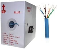 Solid Wire Blue 350MHz Distributed by NAC Wire and Cables 1000ft Bare Copper 24AWG CMR UTP Cat5e Bulk Cable