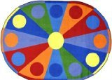 - Joy Carpets Kid Essentials Early Childhood Oval Color Wheel Rug, Multicolored, 5'4