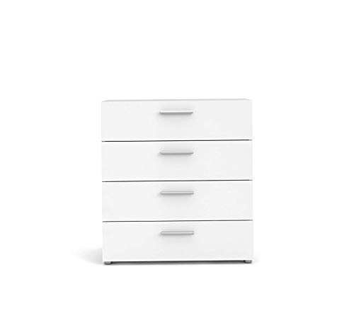 Wood & Style Furniture Austin 4 Drawer Chest, Oak Structure/White High Gloss Premium Office Home Durable Strong