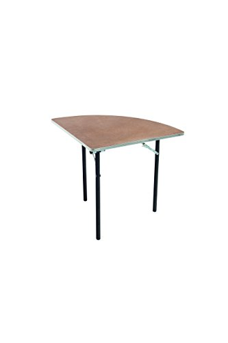 "AmTab - QR48PA - Folding Table, Plywood Stained and Sealed, Aluminum Edge, Quarter Round, 48"" Diameter x 29"" H, Multiple Color Options Available"
