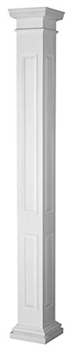Panel Raised Column (Endura-Stone Square Non-Tapered Raised Panel Column (FRP), Smooth Paint-Grade, Tuscan Capital & Base, 8