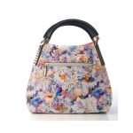 Irina Signature Series Medium Floral Print Leather Handbag