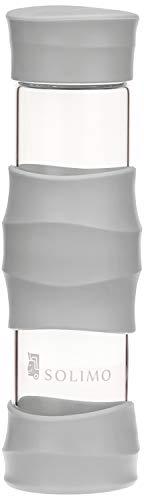 Amazon Brand – Solimo Borosilicate Glass Sports Bottle, 470 ml, White