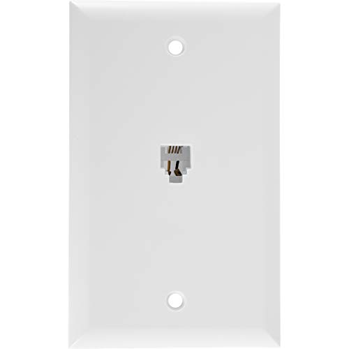 Power Gear Wall Jack with Wallplate, Compatible with RJ11 & RJ14 Phone Jacks, Flush-Mount Design, White, 76197