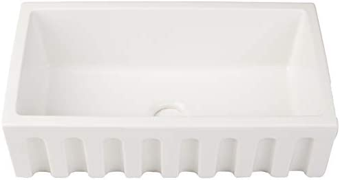 ZUHNE Ostia 33 Inch White Farmhouse Apron Single Bowl Fireclay Reversible Kitchen Sink With Drain Strainer