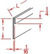 1//16 x 1 x 48 Stainless Steel Sheet Metal J Edge Trim
