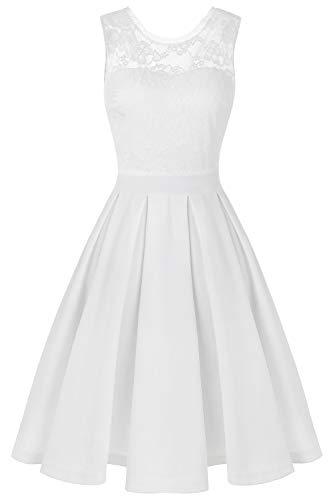 BBX Lephsnt Dress Women's Vintage Floral Lace Cocktail Party Dress White L