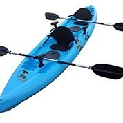 BKC UH-TK181 12.5 foot Sit On Top Tandem Fishing Kayak Paddles and Seats included (Grey Cammo)