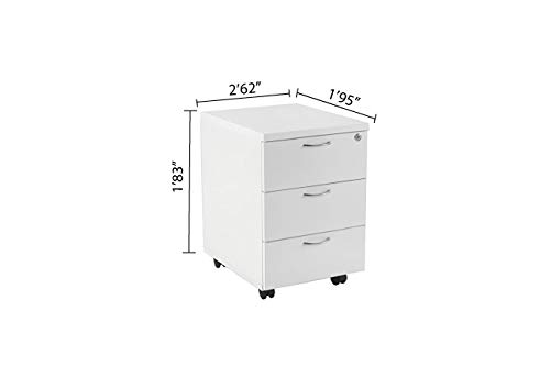 Oak Lockable Foolscap Suspension Filing in Beech White Relax Office 460mm Wooden Filing Cabinet Mobile Pedestal with 3 Drawers Office Storage File Organisers White Or Walnut Finish- Maple