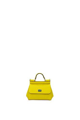 Borse a Mano Dolce&Gabbana Donna Pelle Giallo Limone e Oro BB5999A100180203 Giallo 8x11x15 cm