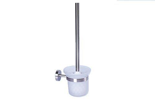 WANDMONTAGE WC Garnitur mit Glaseinsatz und austauschbaren Toilettenbürste hochwertigem Edelstahl matt inclusive Befestigungszubehör
