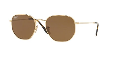 Ray-Ban RB3548N HEXAGONAL 001/57 51M Gold/Brown Polarized Sunglasses For Men For Women (Rb3528)