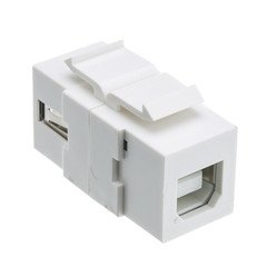 Dealsjungle Keystone Insert, White, USB 2.0 Type A Female To Type B Female Adapter (Reversible)