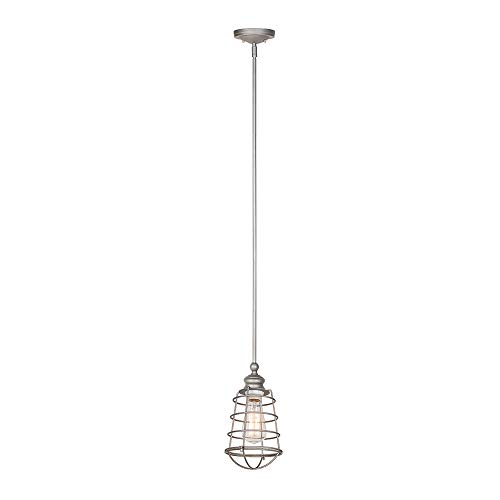 Design House 519645 Ajax 1 Light Mini Pendant, Galvanized Steel Finish