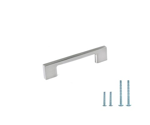 """4 1/2"""" Brushed Satin Nickel Modern Wide Die Cast Cabinet Handle Pull (3-3/4"""" Hole Center / CC96) with Flexi Screw System (Pack of 10) by (Diecast Cabinet Pull)"""