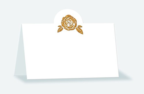 Place cards with filigree gold glitter finish motif: rose