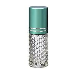 4 Bottles Fancy Large 30ml Roll On Empty Glass Bottles for Essential Oils Refillable 1 Oz Glass Roller Ball Roll-On 30 ml Clear Swirled Glass w/ Upscale Teal Turquoise Aluminum Caps by Grand Parfums ()