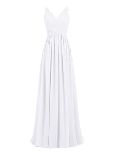 - A-line V-Neck Chiffon Long Empire Bridesmaid Dresses Simple Prom Dresses (US4, White)