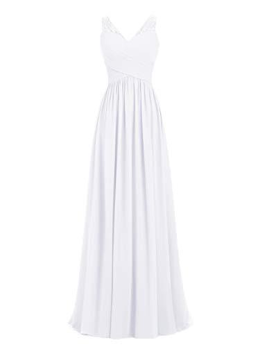 A-line V-Neck Chiffon Long Empire Bridesmaid Dresses Simple Prom Dresses (US12, White)