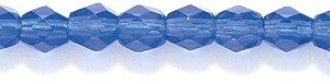 Preciosa Czech 4-mm Fire-Polished Glass Bead, Faceted Round, Transparent Dark Sapphire, 300/pack