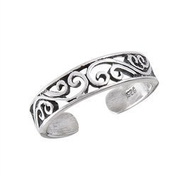 Band Scrolled - Euro Silver Sterling Silver Adjustable Intricate Scrolled Band Toe Ring
