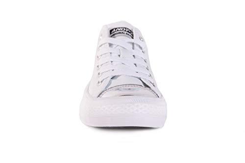 De Los De Zapatos Otoño Zapatos La De Lona Bicolores ANDY El Señoras De Primavera Los Y Los Plateado Zapatos Planos Blanco Ocasionales Z Forman Las nP1w81q7a