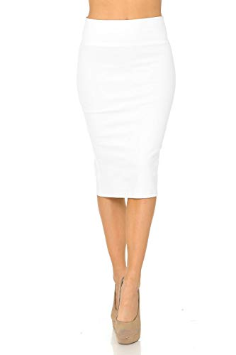 Auliné Collection Womens Solid Fitted High Waist Stretch Midi Ponte Pencil Skirt White 2X