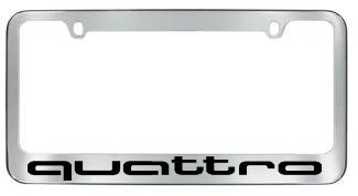 Sparkoo Genuine Stainless Steel Quattro License Plate Metal Chrome Silver Frame with Screw Cap Covers Holder for All Au di 1