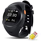 Kids Children Dementia and Elderly Care GPRS Smartwatch Anti-Lost Smart Watch with GPS Tracker SOS Call SIM Card Remote Monitor (Black)