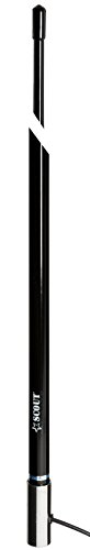 VHF marine boat 8 foot antenna SCOUT KS42 BLACK. Pressure injected foam seals core. Black with Glossy UV protection finish and rubber tip. Fits all mounts. Stainless steel ferrule. Hand made in Italy.