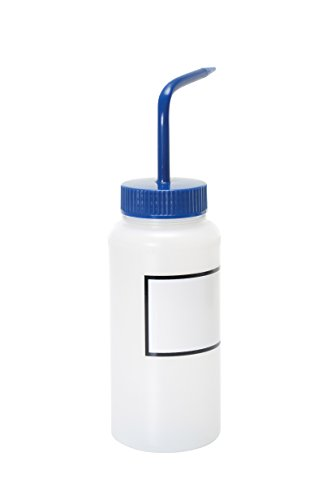 Vestil BTL-WW-16B-LBL Wide Mouth Low Density Polyethylene (LDPE) Round Squeeze Wash Bottle with Label and Blue Cap, 16 oz Capacity, Translucent (16 Oz Ldpe)