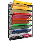 EOOUT 7Layer Wall Mount File Mail Tray Organizer Black for Office and Home Organization