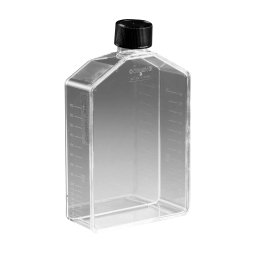Corning 3150 Polystyrene 175mL Straight Costar Traditional Neck Cell Culture Flask with Black Phenolic-Style Cap (Case of 25)