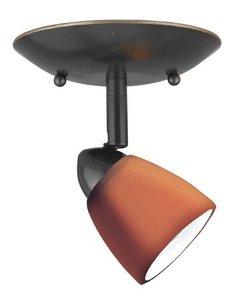 Cal Lighting SL-954-1-DB/AM Spot Light with Amber Glass Shades, Dark Bronze Finish