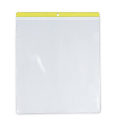 10'' x 12'' Short-Side Opening Vinyl Envelopes with Yellow Header & Hang Hole (7.5 Gauge) (100 Envelopes) - AB-99-7-71Y