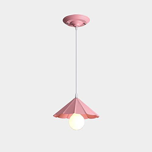 HOSTWEK Nordic Creative Restaurant Chandelier Macaron bar Wrought Iron Lamps Single Head (Color : Cherry Blossom Powder) ()
