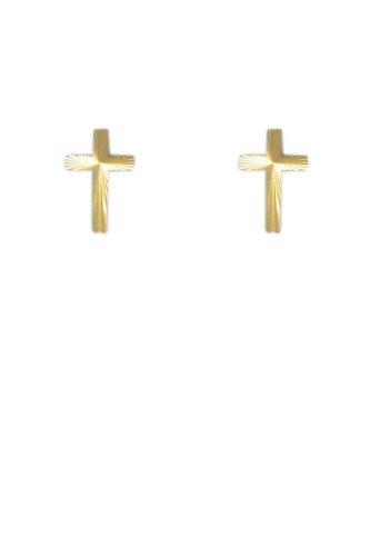 1ac611ee851 9ct Gold 'Cross' Stud Earrings: Jewel Nation: Amazon.co.uk: Jewellery