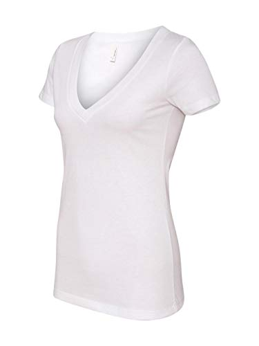 Next Level Apparel Women's CVC Deep V-Neck T-Shirt, White, ()