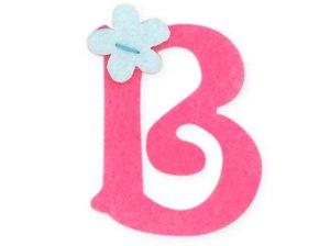 pink felt alphabet letters iron on 25mm motif girl letter b