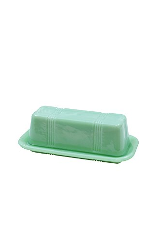 Tablecraft HJ124 Jadeite Glass Collection Butter Dish, 6.75 x 3.25 x 2.25, Green