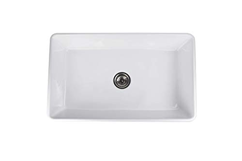 Farmhouse Kitchen ALWEN 33 White Farmhouse Sink, Fireclay 33 Apron Front sink, Luxury Single Basin Kitchen Sink, 33 inch Farmhouse Sink… farmhouse kitchen sinks