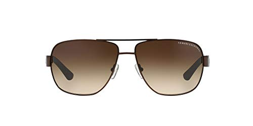 Armani Exchange Men's Metal Man Sunglass 0AX2012S Aviator Sunglasses, Satin Dark Brown/Dark Olive, 62 ()