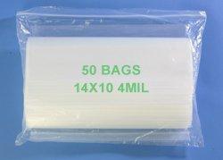 14'' x 10'', 4 Mil (Case of 500) Heavy Duty Plastic Reclosable Zipper Bags