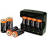 Hixon RCR123A Rechargeable Arlo Batteries(8pcs) and Charger, 3.7V 700mAh RCR123A Protected Li-ion Battery and Quick Charger...