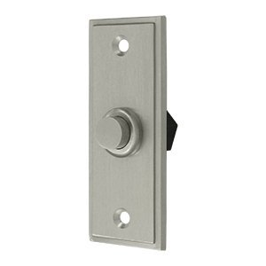 Solid Brass Rectangular Contemporary Bell Button (Satin Nickel)