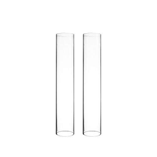 "CYS EXCEL Various Size Hurricane Candleholders, Chimney Tube, Glass Cylinder Open Both Ends, Open Ended Hurricane, Candle Shade, Glass Shade Candleholders Set of 2 (2.5"" Wide x 14"" Tall)"
